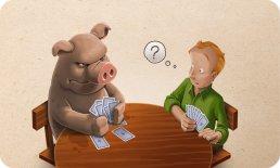 Die Vorteile der Zukauf-Optionen in der Skat-App werden mit sympathischen Illustrationen beworben.
