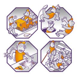Illustrationen und Posterlayout zu allgemeinen Arbeitssicherheit im Betrieb (Gentherm GmbH)